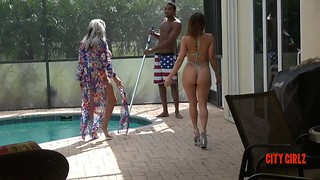 Auntie and Niece share Niece's first Black COCK #BBC #WHITE #INTERRACIAL