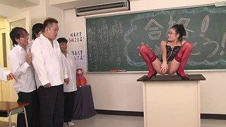 Young and geeky Asian slut in eyeglasses gets anal group sex from her classmates in the classroom