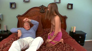 Young blonde coed moans with ecstasy while old dude who could be her grandfather pumps her cunt
