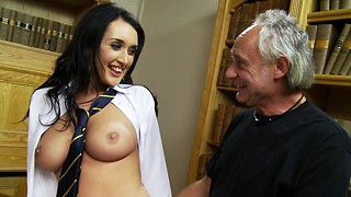 Long haired brunette with big boobs takes two massive throbbers (and one of them from an old man) in this awesome threesome