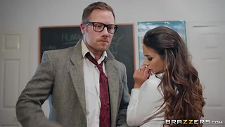 Crazy brunette student with pierced clit Roxxy Lea riding her teacher Freddy Flavas in the classroom