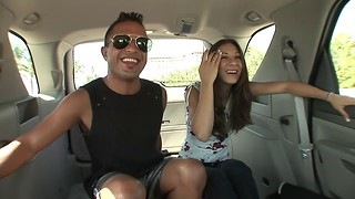 Latin stud picks up some hot ass brunette girl and takes her for a ride on his tool in the back seat of a car