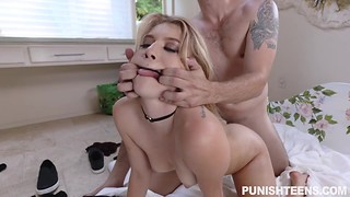 Young smoking hot blonde with kinky tattoos Sophia Leone gagged, brutally punished and penetrated in doggy
