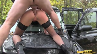 Hot posh British lady in fishnet stockings Tina Kay fucked in ass by taxi driver outside the cab
