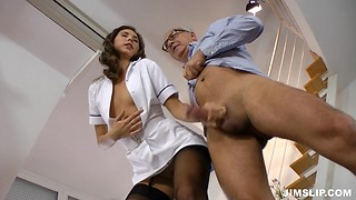 Perfect glam looking brunette nurse in stockings has her hairy vagina filled by older guy