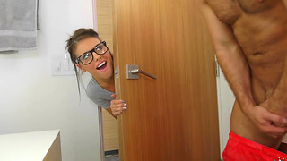 Dedicated student in sexy eyeglasses Adriana Chechik needs a break from her studies