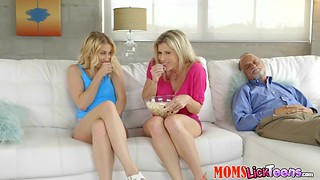 Stepmom Cory Chase liking and eating a blonde teen Sierra Nicole while her hubby is sleeping next to them