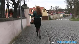 Beautiful redhead girl in lace stockings gets picked up off the street and fucked good in POV