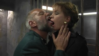 Old and young threesome sex scene in dungeon! I cummed already twice, and what's about you?