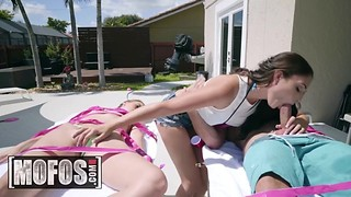 MOFOS - Two perfect teens Ariana Marie, and Jill Kassidy share a cock