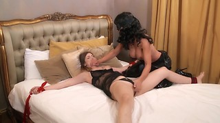 INTRUDER! Lesbian Tied Spread Eagle and Handgagged ft Stella Cox