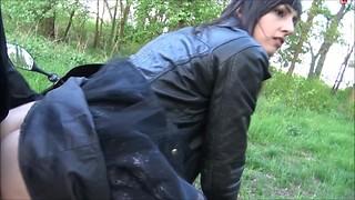 German Brunette in Black Leather Jacket Motorcyle Sex