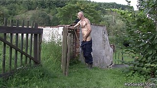 Older man eats son'_s GF pussy in the fields