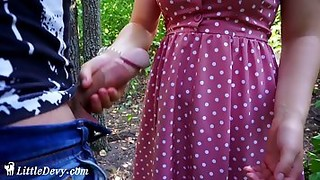 Pretty, amateur teen is about to get fucked in a local forest, in the late afternoon